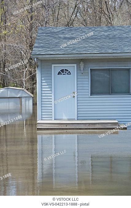 Facade of flooded house