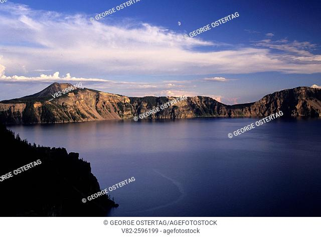Crater Lake with moon near Pumice Point, Crater Lake National Park, Oregon