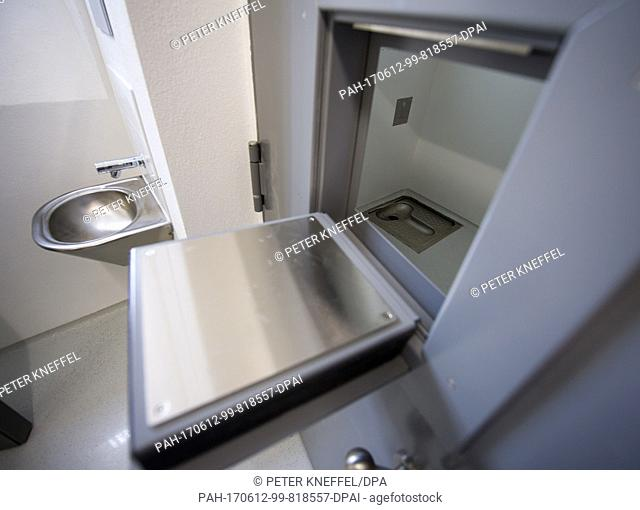 A special sanitary prison cell for vandalizing persons can be seen at the new Deportation Detention Centre in Eichstaett, Germany, 12 June 2017