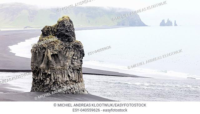 Big rock on the black beach near Vik, Iceland
