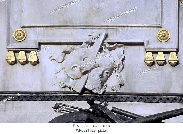 mask detail Mozart monument in the Viennese Burggarten