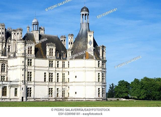 Chambord Castle, Loire Valley, France. Built as a hunting lodge for King Francois I, this castle is the largest and most frequented of the Loire Valley