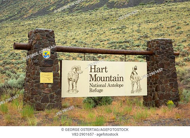 Entrance sign, Hart Mountain National Antelope Refuge, Lakeview to Steens National Back Country Byway, Oregon