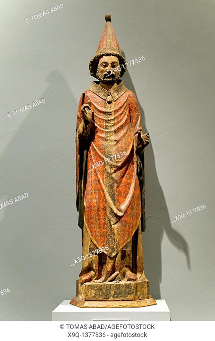 Saint Peter as the First Pope, late 14th century, Spanish, Catalan, Pine partially covered with canvas, gesso, and paint Overall: 79 x 22 5/8 x 13 in  200 7 x...