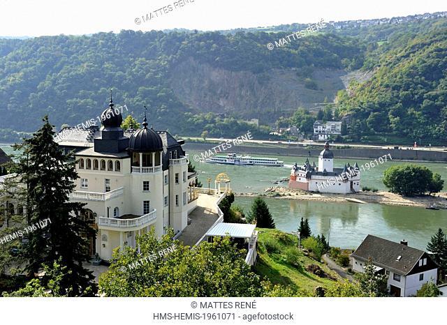Germany, Rhineland Palatinate, Kaub, the (Burg) Pfalzgrafenstein castle, the romantic Rhine listed as World Heritage by UNESCO