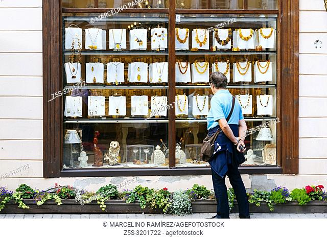 Souvenir shop. Sale of baltic amber. The Baltic region is home to the largest known deposit of amber, called Baltic amber or succinite