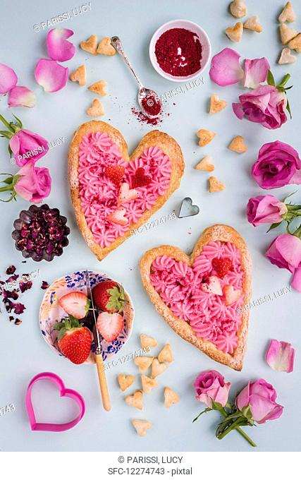 Valentine's day puff pastry tart with rose pastry cream, strawberries and sprinkles