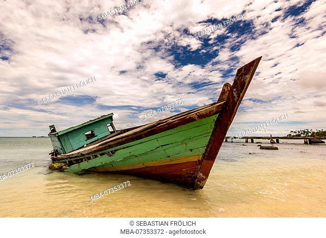 Boat wreck on the beach on the Banyak island Bali