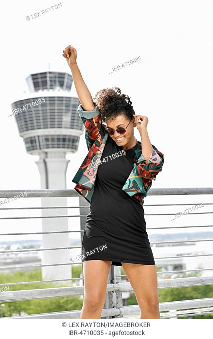 Young woman, Fashion, photoshoot at the airport Munich, Germany, Europe
