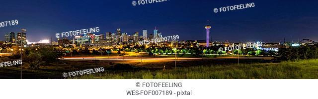 USA, Colorado, Denver, Cityscape at night, panorama