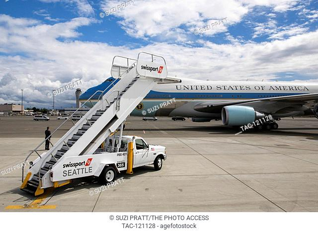 Air Force One arrives at Seattle-Tacoma International Airport on June 24, 2016 in Seattle, Washington