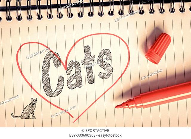 I love cats message on paper with a brush