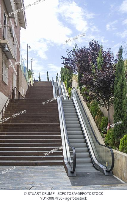 Steps and open air escalator in the Spanish city of Cartagena, Murcia