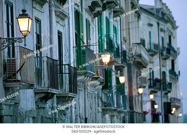 Ortygia Island-Streetlights- via R. Settimo in the evening, Syracuse. Sicily, Italy