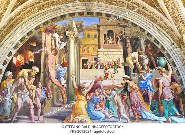 The fire in the borgo, 1516-1517, Raphael, 1483-1520, fresco, room of the fire in the borgo ,Raphael's rooms, vatican museums, Rome, Italy