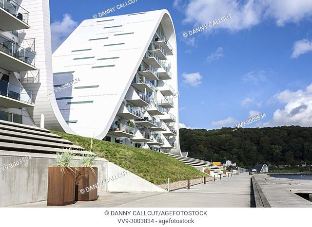 "The Wave Development . "" design by Henning Larsen Architects in Vejle, Jutland, Denmark, Europe"