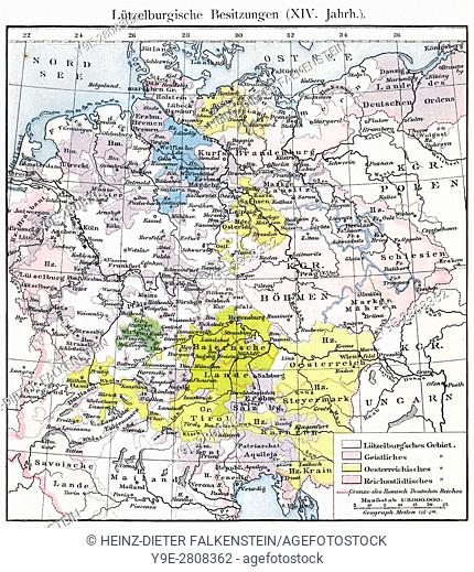 King hungary map stock photos and images age fotostock historical map of the holy roman empire under charles iv territory of the house of gumiabroncs Image collections