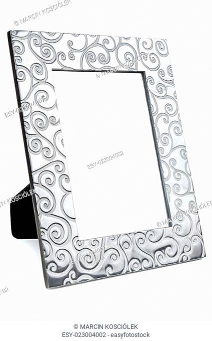 Decorative empty photo frame on white background