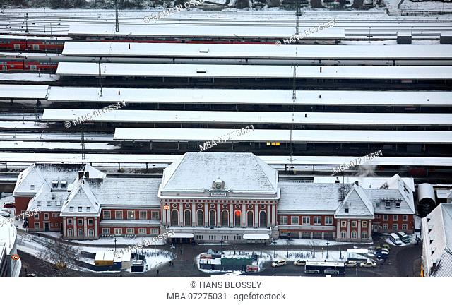Aerial view, Central station Hamm, Main station, Central station, Railway station, Hamm, Ruhr area, Snow, North Rhine-Westphalia, Germany, Europe