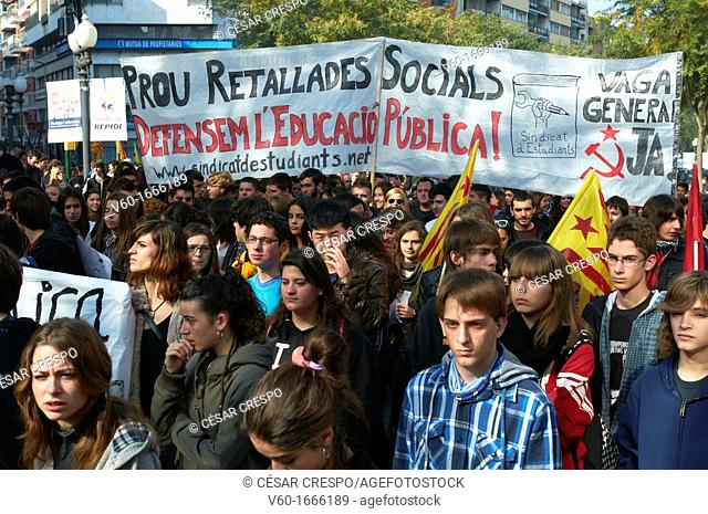 -Students' Demonstrations against Cuts- Tarragona Catalonia, Spain