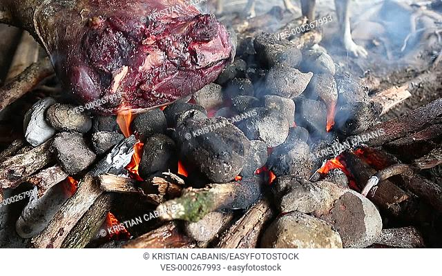 Grilling meat on a fire, Papua, Indonesia, Southeast Asia
