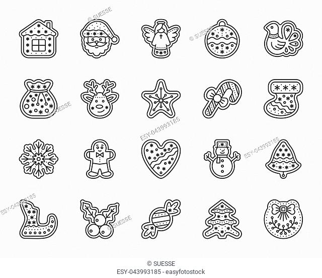 Christmas gingerbread thin line icon set. Outline sign kit of xmas cookie. Sweet food linear icons includes mistletoe, bird star