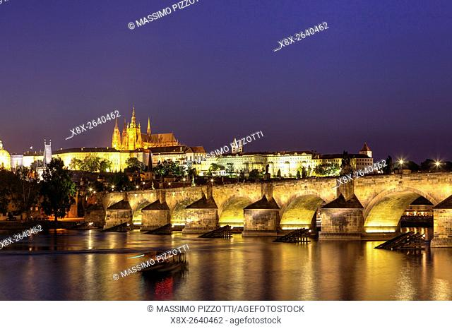 Charles bridge and cityscape at sunset, Prague, Czech Republic