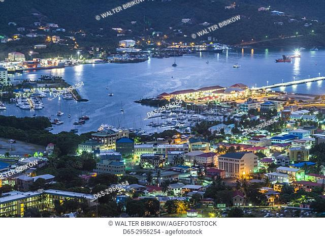 British Virgin Islands, Tortola, Road Town, elevated town view from Joe's Hill, dawn