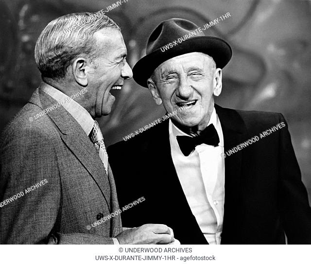 New York, New York: October 21, 1969.George Burns (L) and Jimmy Durante (R) share a laugh on the ABC television show, Jimmy Durante Presents The Lennon Sisters...