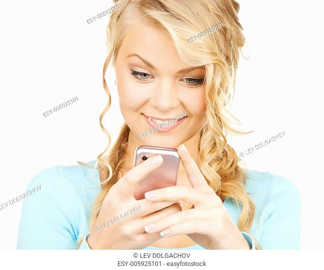 technology and internet concept - smiling woman with smartphone