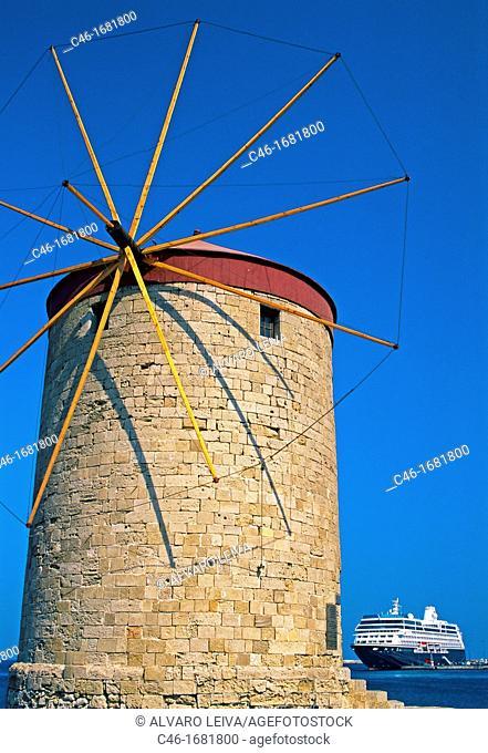 Windmills  Mandraki Port  Rhodes  Dodecanese  Greece