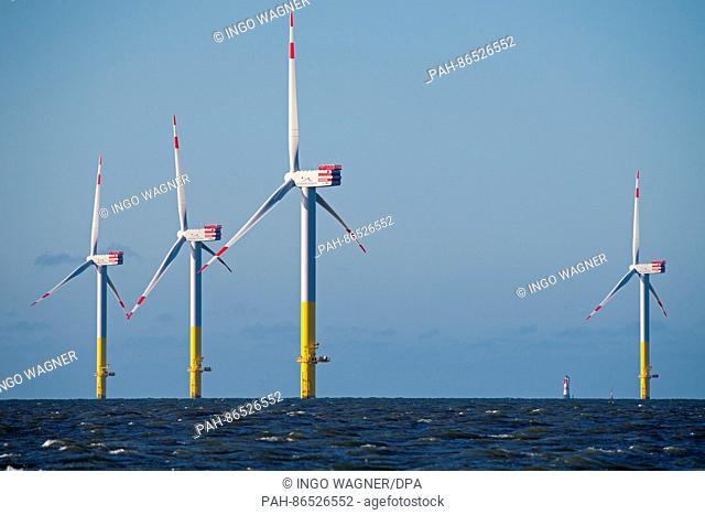 The wind turbines of the Nordergruende offshore wind farm off the coast of Dorum, Germany, 24 November 2016. Photo: Ingo Wagner/dpa | usage worldwide