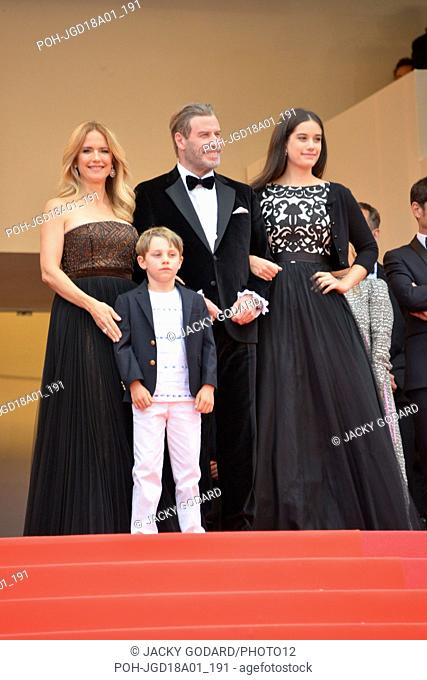John Travolta with wife Kelly Preston and kids Ella and Benjamin. Arriving on the red carpet for the film 'Solo: A Star Wars Story' 71st Cannes Film Festival...