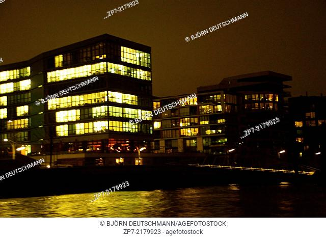 The Hafen City, Hamburg at night