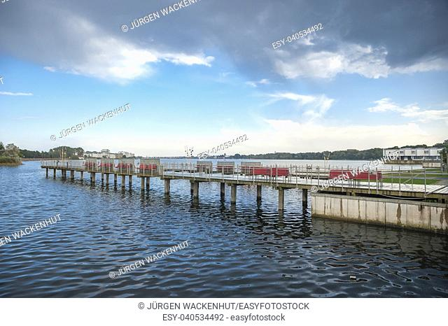 Footbridge on the inland lake, Heiligenhafen, Baltic Sea, Schleswig-Holstein, Germany, Europe