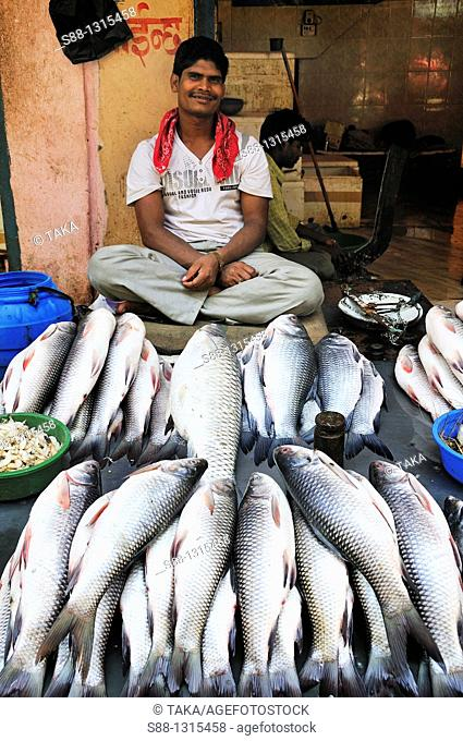 The man selling fish at the Ombahal market