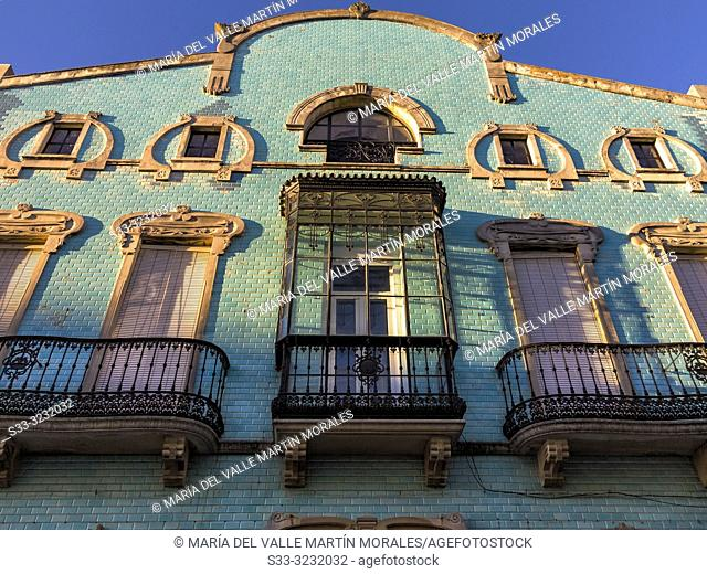 Typical house with balconies in Zafra. Badajoz. Spain. Europe