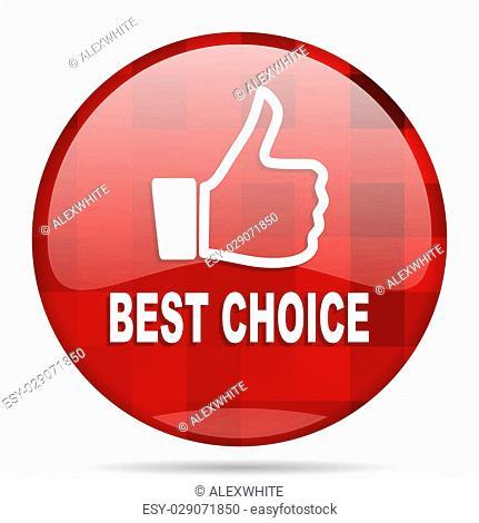 best choice red round glossy modern design web icon