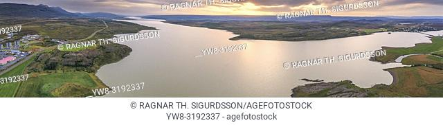 Egilsstadir, Lagarfljot river, Eastern Iceland. This image is shot using a drone