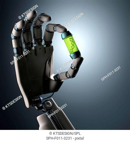 Robotic hand holding a container with deoxyribonucleic acid (DNA), computer illustration