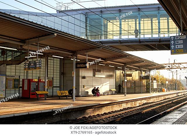 platforms and skywalk of liverpool south parkway railway station merseyside england