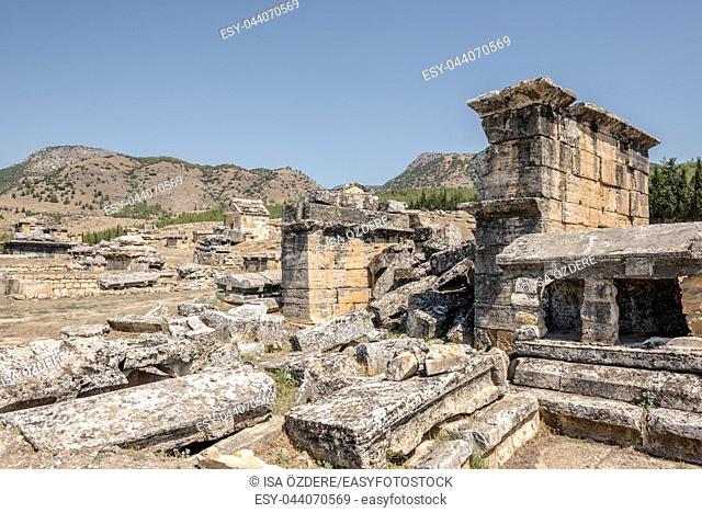 Ancient tombs at Hierapolis northern necropolis in Pamukkale, Turkey. UNESCO World Heritage