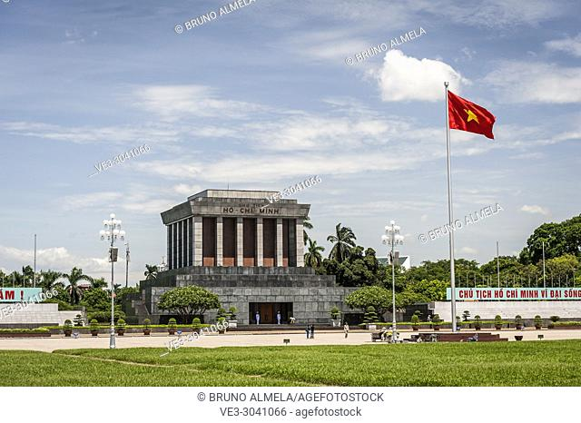 The Ho Chi Minh Mausoleum, located in the center of Ba Dinh Square, Hanoi (Vietnam)