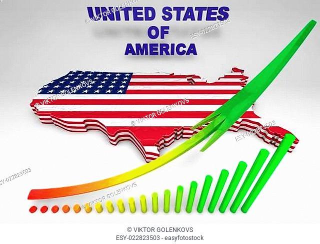 U.S.A. mapped flag in 3D illustration