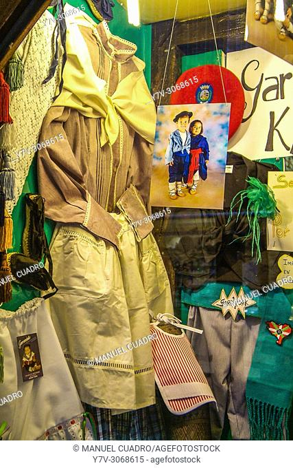 Basque traditional clothes in traditional shop in the Casco Viejo (old town) of Bilbao, Biscay, Basque Country, Spain
