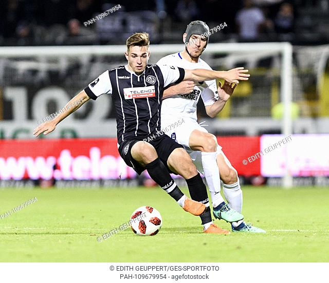 duels, duel between Luca Schnellbacher (VfR Aalen) and Damian Rossbach (KSC). GES / Soccer / 3. Liga: VfR Aalen - Karlsruher SC, 26.09