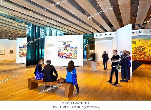 France, Bouches du Rhone, Marseille, Esplanade J4, Euromed, MuCEM or Museum of Civilization in Europe and the Mediterranean, exhibition Black and Blue