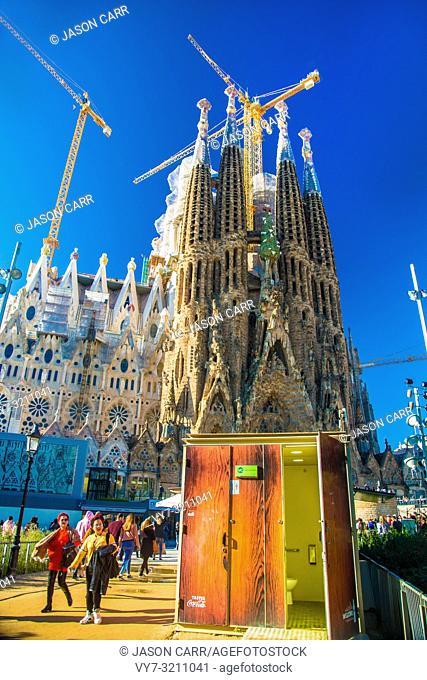 BARCELONA, SPAIN - November 24, 2018: La Sagrada Familia's construction in progress. It is on the part of UNESCO World Heritage site by an artist Antoni Gaudi