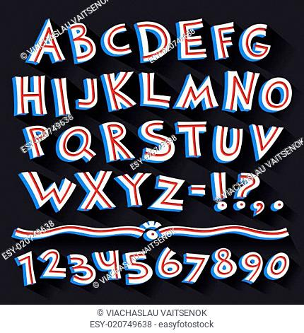 Cartoon Retro 3D Font with Strips on Black Background