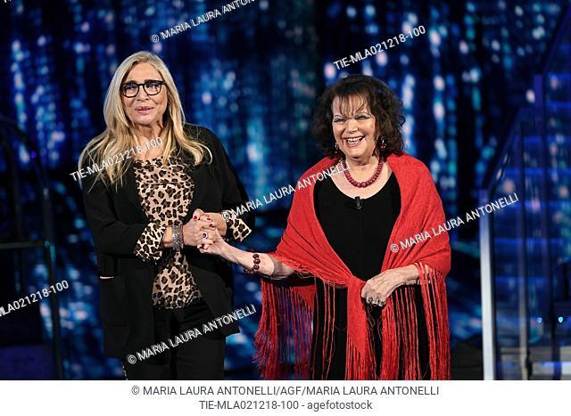 Tv presenter Mara Venier, Claudia Cardinale during the tv show Domenica in, Rome, ITALY-02-12-2018